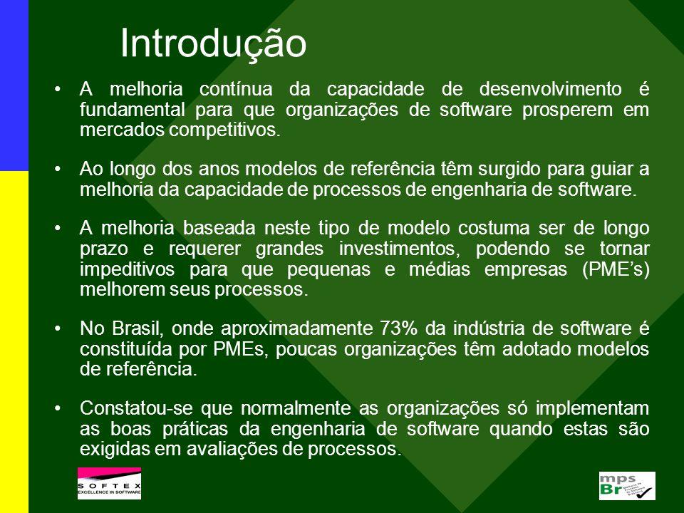 Introdução Neste contexto foi criado o programa MPS.BR para desenvolver e disseminar um modelo de referência brasileiro visando estabelecer um caminho economicamente viável para que organizações, incluindo as PMEs, alcancem os benefícios da melhoria de processos e da utilização de boas práticas da engenharia de software em um intervalo de tempo razoável.