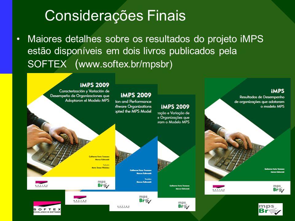 Considerações Finais Maiores detalhes sobre os resultados do projeto iMPS estão disponíveis em dois livros publicados pela SOFTEX ( www.softex.br/mpsb