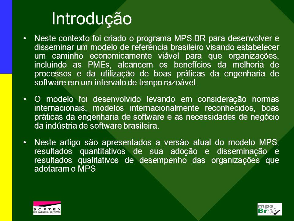 Introdução Neste contexto foi criado o programa MPS.BR para desenvolver e disseminar um modelo de referência brasileiro visando estabelecer um caminho