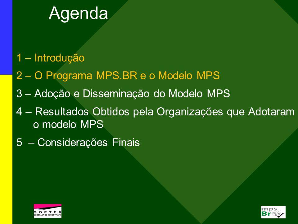 Agenda 1 – Introdução 2 – O Programa MPS.BR e o Modelo MPS 3 – Adoção e Disseminação do Modelo MPS 4 – Resultados Obtidos pela Organizações que Adotar