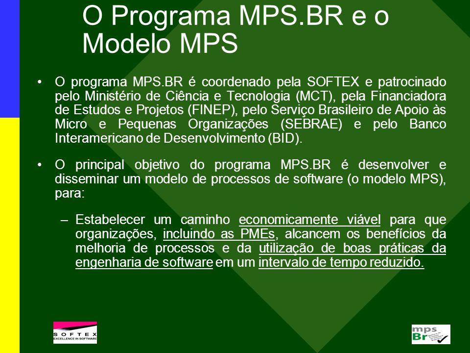 O Programa MPS.BR e o Modelo MPS O programa MPS.BR é coordenado pela SOFTEX e patrocinado pelo Ministério de Ciência e Tecnologia (MCT), pela Financia
