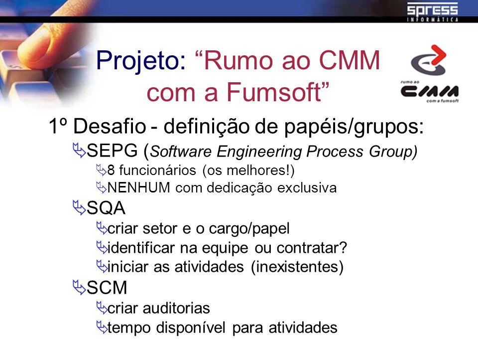 1º Desafio - definição de papéis/grupos: SEPG ( Software Engineering Process Group) 8 funcionários (os melhores!) NENHUM com dedicação exclusiva SQA c
