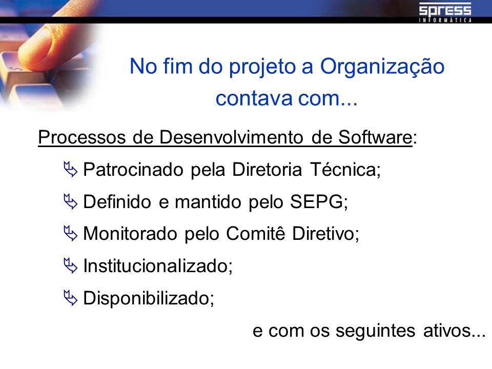 No fim do projeto a Organização contava com... Processos de Desenvolvimento de Software: Patrocinado pela Diretoria Técnica; Definido e mantido pelo S