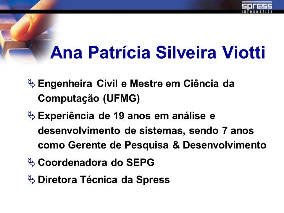 Ana Patrícia Silveira Viotti Engenheira Civil e Mestre em Ciência da Computação (UFMG) Experiência de 19 anos em análise e desenvolvimento de sistemas