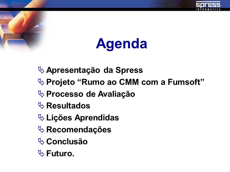 Agenda Apresentação da Spress Projeto Rumo ao CMM com a Fumsoft Processo de Avaliação Resultados Lições Aprendidas Recomendações Conclusão Futuro.