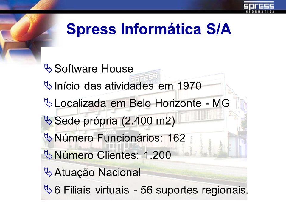 Spress Informática S/A Software House Início das atividades em 1970 Localizada em Belo Horizonte - MG Sede própria (2.400 m2) Número Funcionários: 162