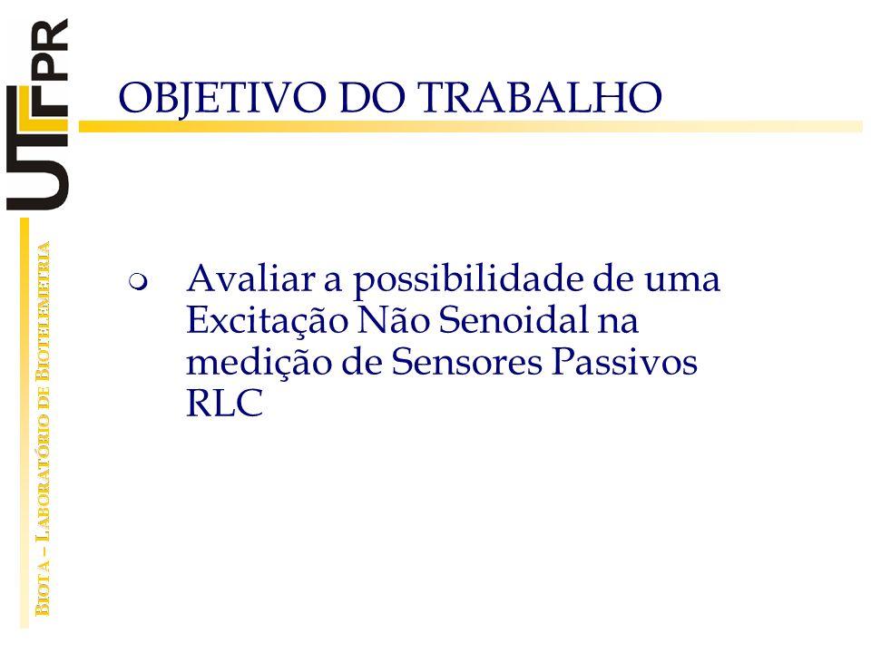 OBJETIVO DO TRABALHO Avaliar a possibilidade de uma Excitação Não Senoidal na medição de Sensores Passivos RLC