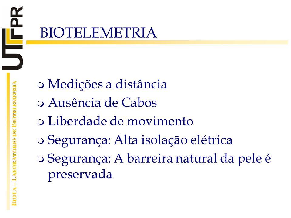 BIOTELEMETRIA Medições a distância Ausência de Cabos Liberdade de movimento Segurança: Alta isolação elétrica Segurança: A barreira natural da pele é