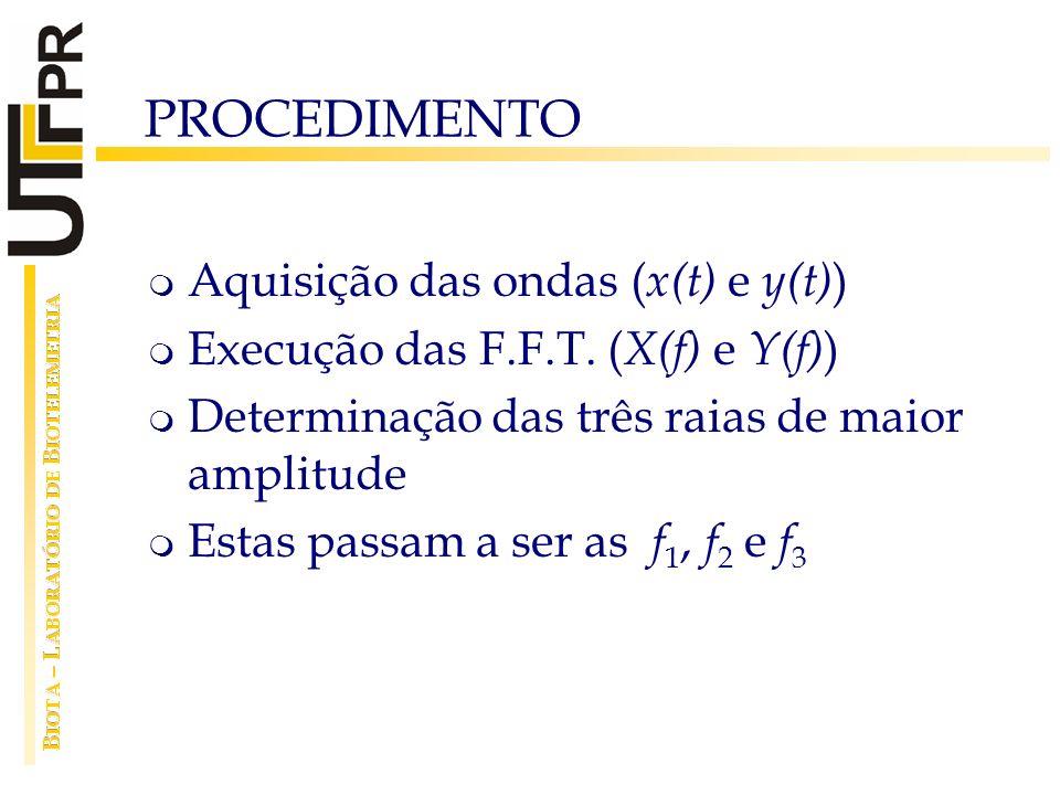 PROCEDIMENTO Aquisição das ondas ( x(t) e y(t) ) Execução das F.F.T. ( X(f) e Y(f) ) Determinação das três raias de maior amplitude Estas passam a ser