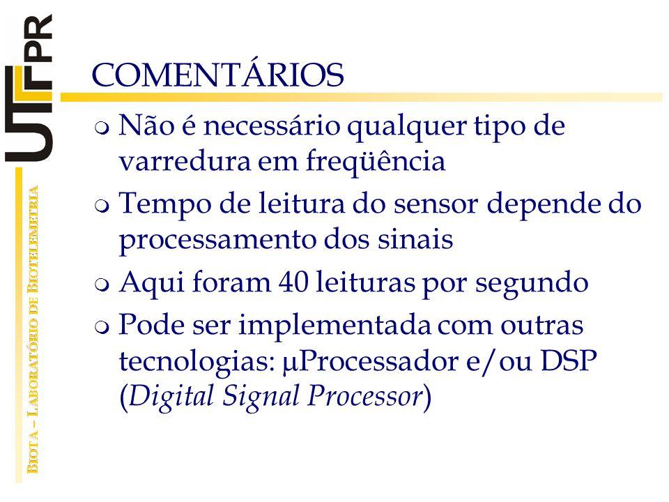 COMENTÁRIOS Não é necessário qualquer tipo de varredura em freqüência Tempo de leitura do sensor depende do processamento dos sinais Aqui foram 40 lei