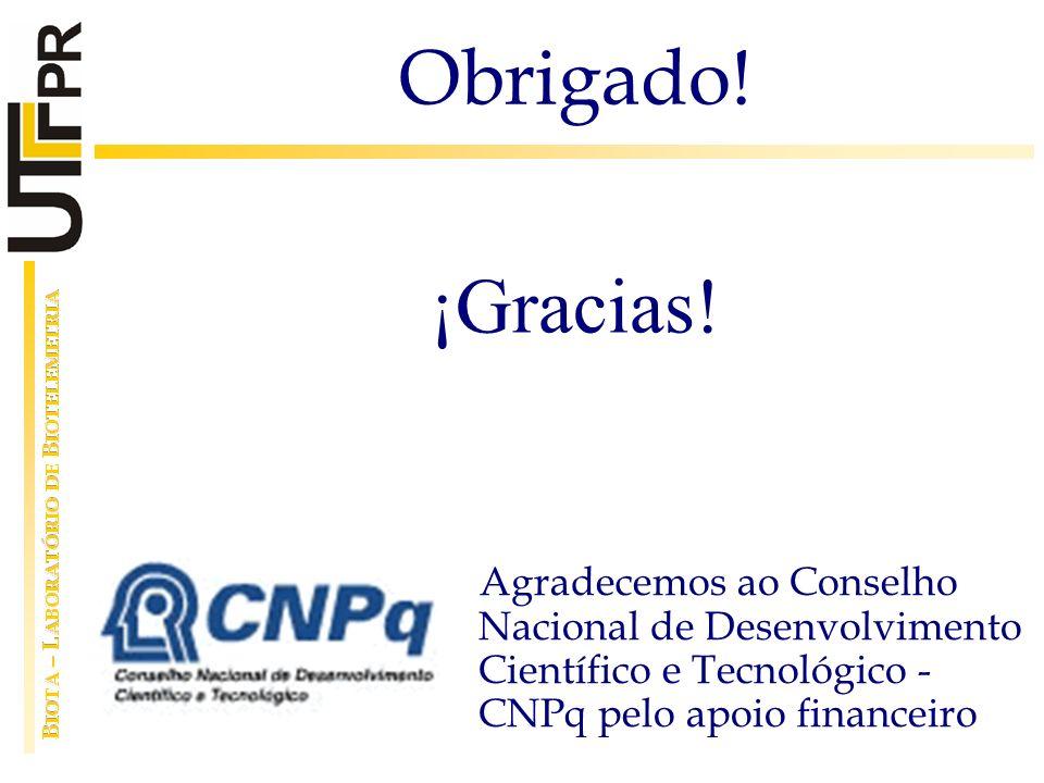 Agradecemos ao Conselho Nacional de Desenvolvimento Científico e Tecnológico - CNPq pelo apoio financeiro Obrigado! ¡Gracias!