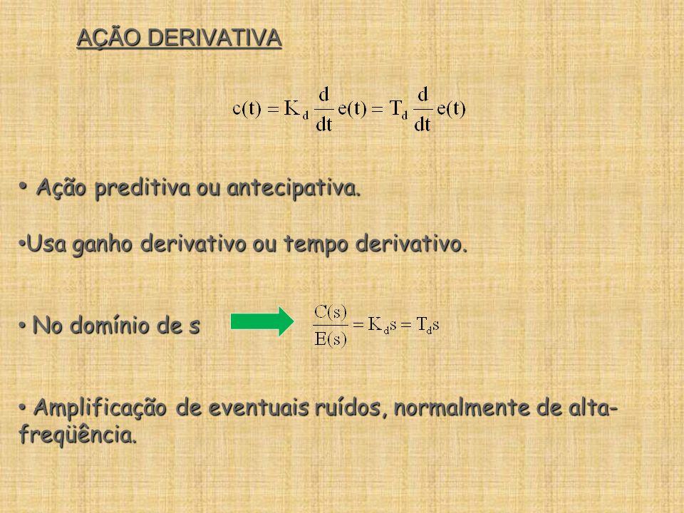 AÇÃO DERIVATIVA Ação preditiva ou antecipativa. Ação preditiva ou antecipativa. Usa ganho derivativo ou tempo derivativo. Usa ganho derivativo ou temp