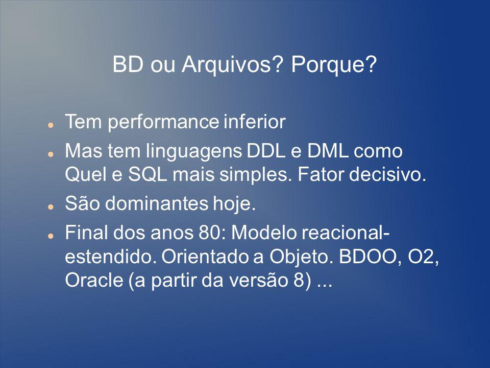 BD ou Arquivos? Porque? Tem performance inferior Mas tem linguagens DDL e DML como Quel e SQL mais simples. Fator decisivo. São dominantes hoje. Final