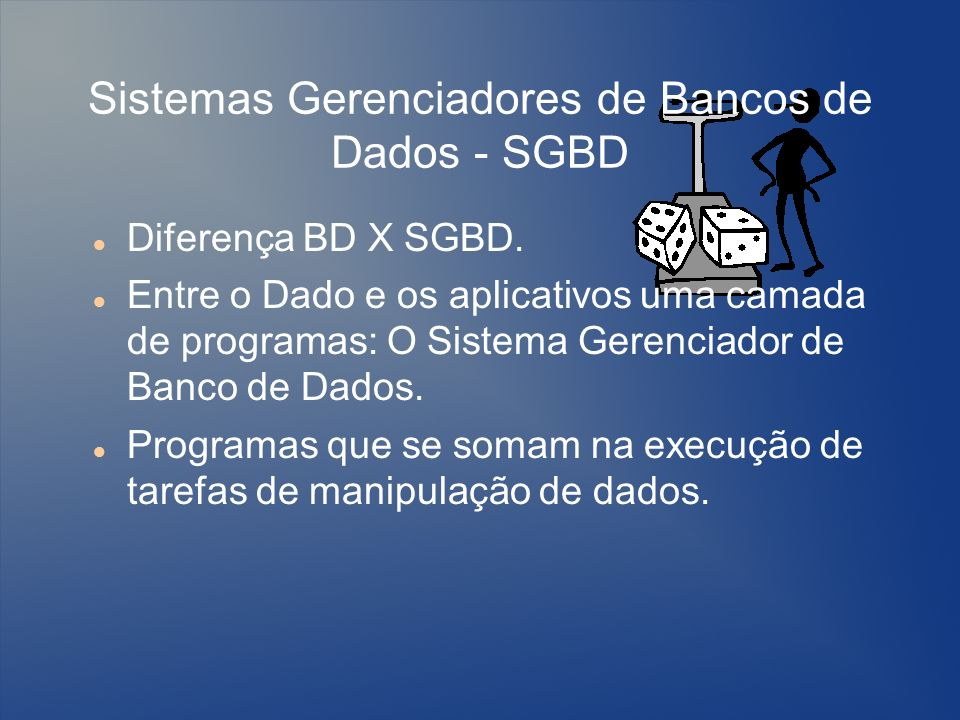 Sistemas Gerenciadores de Bancos de Dados - SGBD Diferença BD X SGBD. Entre o Dado e os aplicativos uma camada de programas: O Sistema Gerenciador de