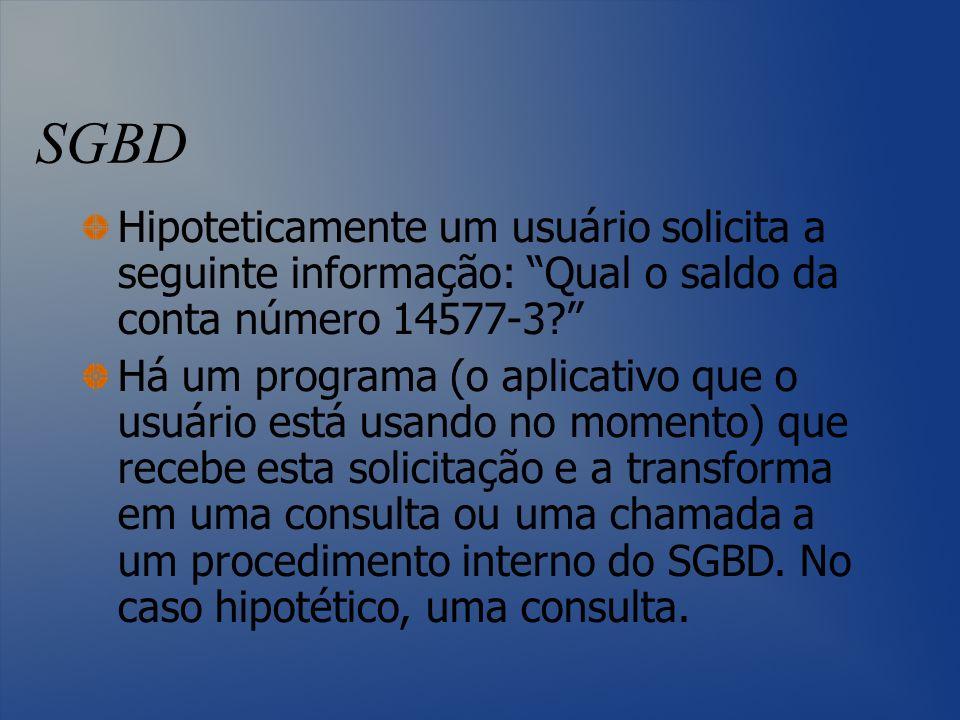 SGBD Hipoteticamente um usuário solicita a seguinte informação: Qual o saldo da conta número 14577-3? Há um programa (o aplicativo que o usuário está