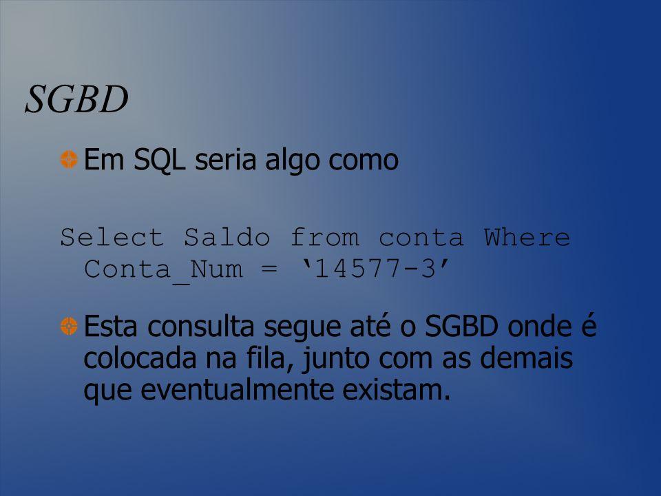 SGBD Em SQL seria algo como Select Saldo from conta Where Conta_Num = 14577-3 Esta consulta segue até o SGBD onde é colocada na fila, junto com as dem