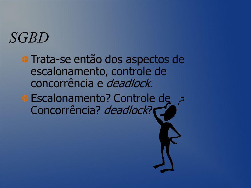 SGBD Trata-se então dos aspectos de escalonamento, controle de concorrência e deadlock. Escalonamento? Controle de Concorrência? deadlock?