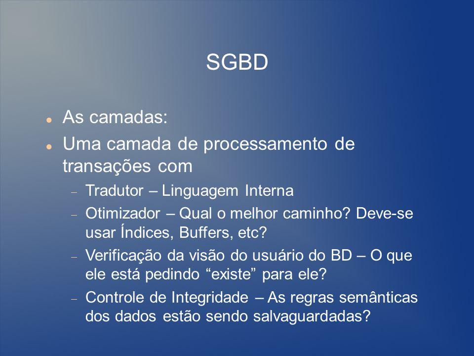 SGBD As camadas: Uma camada de processamento de transações com Tradutor – Linguagem Interna Otimizador – Qual o melhor caminho? Deve-se usar Índices,