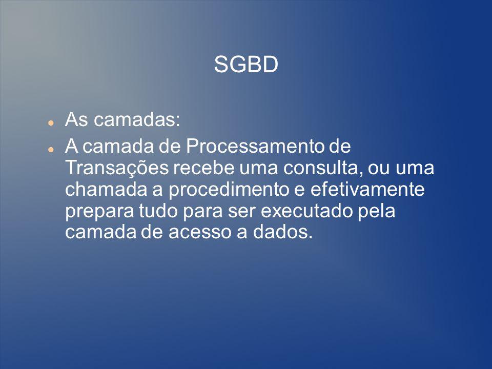 SGBD As camadas: A camada de Processamento de Transações recebe uma consulta, ou uma chamada a procedimento e efetivamente prepara tudo para ser execu