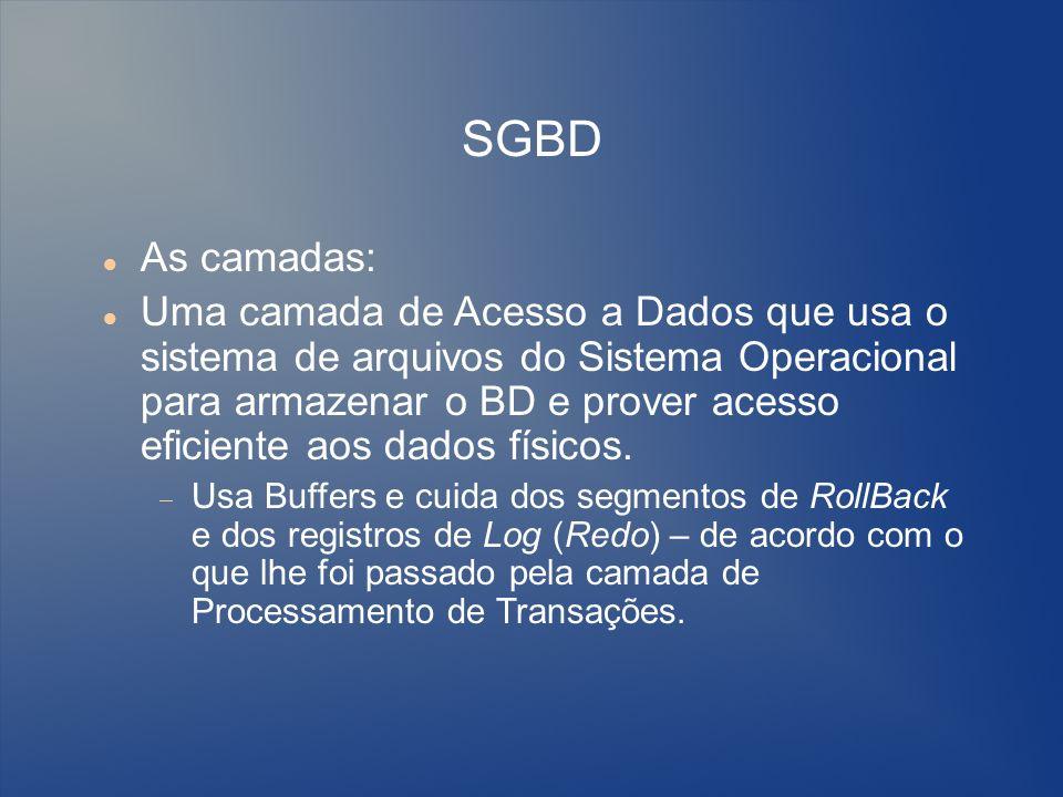 SGBD As camadas: Uma camada de Acesso a Dados que usa o sistema de arquivos do Sistema Operacional para armazenar o BD e prover acesso eficiente aos d