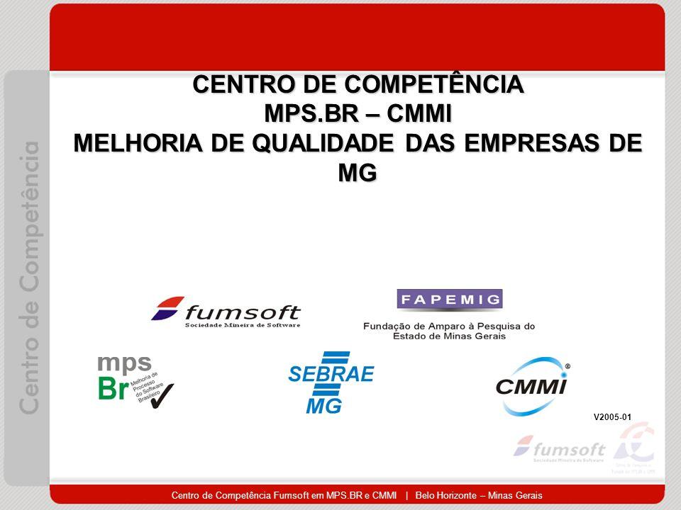 Centro de Competência Fumsoft em MPS.BR e CMMI | Belo Horizonte – Minas Gerais CENTRO DE COMPETÊNCIA MPS.BR – CMMI MELHORIA DE QUALIDADE DAS EMPRESAS DE MG V2005-01
