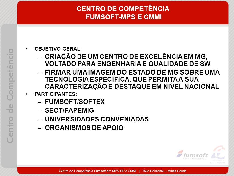 Centro de Competência Fumsoft em MPS.BR e CMMI | Belo Horizonte – Minas Gerais CENTRO DE COMPETÊNCIA FUMSOFT-MPS E CMMI OBJETIVO GERAL: –CRIAÇÃO DE UM CENTRO DE EXCELÊNCIA EM MG, VOLTADO PARA ENGENHARIA E QUALIDADE DE SW –FIRMAR UMA IMAGEM DO ESTADO DE MG SOBRE UMA TECNOLOGIA ESPECÍFICA, QUE PERMITA A SUA CARACTERIZAÇÃO E DESTAQUE EM NÍVEL NACIONAL PARTICIPANTES: –FUMSOFT/SOFTEX –SECT/FAPEMIG –UNIVERSIDADES CONVENIADAS –ORGANISMOS DE APOIO