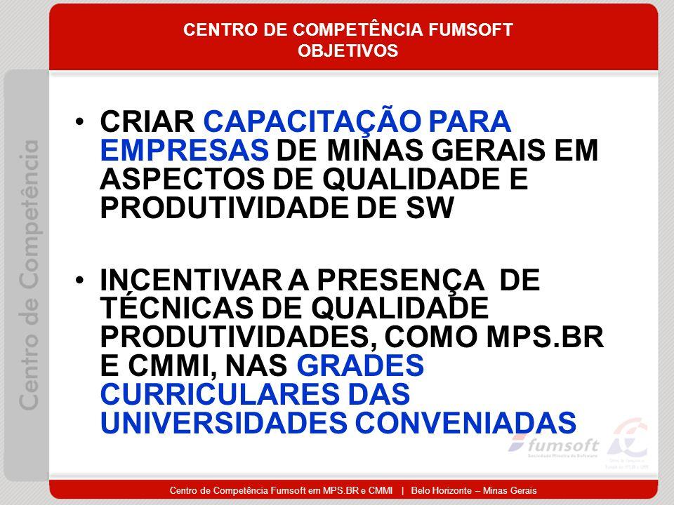 Centro de Competência Fumsoft em MPS.BR e CMMI | Belo Horizonte – Minas Gerais CENTRO DE COMPETÊNCIA FUMSOFT OBJETIVOS CRIAR CAPACITAÇÃO PARA EMPRESAS DE MINAS GERAIS EM ASPECTOS DE QUALIDADE E PRODUTIVIDADE DE SW INCENTIVAR A PRESENÇA DE TÉCNICAS DE QUALIDADE PRODUTIVIDADES, COMO MPS.BR E CMMI, NAS GRADES CURRICULARES DAS UNIVERSIDADES CONVENIADAS