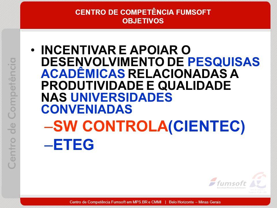 Centro de Competência Fumsoft em MPS.BR e CMMI | Belo Horizonte – Minas Gerais CENTRO DE COMPETÊNCIA FUMSOFT OBJETIVOS INCENTIVAR E APOIAR O DESENVOLVIMENTO DE PESQUISAS ACADÊMICAS RELACIONADAS A PRODUTIVIDADE E QUALIDADE NAS UNIVERSIDADES CONVENIADAS –SW CONTROLA(CIENTEC) –ETEG