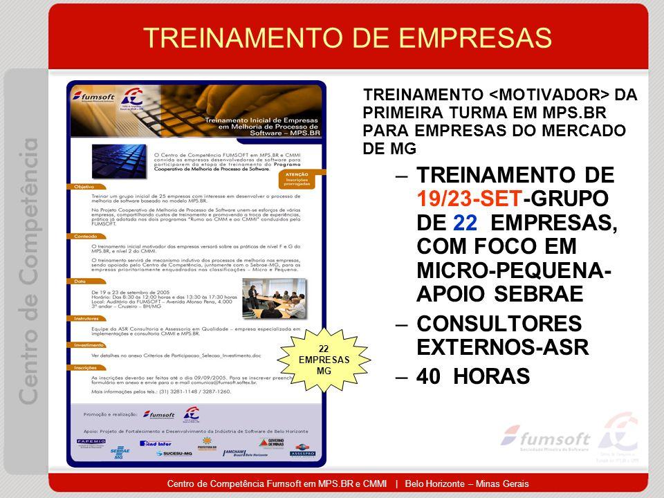 Centro de Competência Fumsoft em MPS.BR e CMMI | Belo Horizonte – Minas Gerais TREINAMENTO DE EMPRESAS TREINAMENTO DA PRIMEIRA TURMA EM MPS.BR PARA EMPRESAS DO MERCADO DE MG –TREINAMENTO DE 19/23-SET-GRUPO DE 22 EMPRESAS, COM FOCO EM MICRO-PEQUENA- APOIO SEBRAE –CONSULTORES EXTERNOS-ASR –40 HORAS 22 EMPRESAS MG