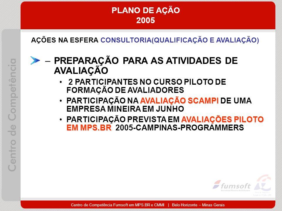 Centro de Competência Fumsoft em MPS.BR e CMMI | Belo Horizonte – Minas Gerais PLANO DE AÇÃO 2005 AÇÕES NA ESFERA CONSULTORIA(QUALIFICAÇÃO E AVALIAÇÃO) –PREPARAÇÃO PARA AS ATIVIDADES DE AVALIAÇÃO 2 PARTICIPANTES NO CURSO PILOTO DE FORMAÇÃO DE AVALIADORES AVALIAÇÃO SCAMPIPARTICIPAÇÃO NA AVALIAÇÃO SCAMPI DE UMA EMPRESA MINEIRA EM JUNHO AVALIAÇÕES PILOTO EM MPS.BRPARTICIPAÇÃO PREVISTA EM AVALIAÇÕES PILOTO EM MPS.BR 2005-CAMPINAS-PROGRAMMERS