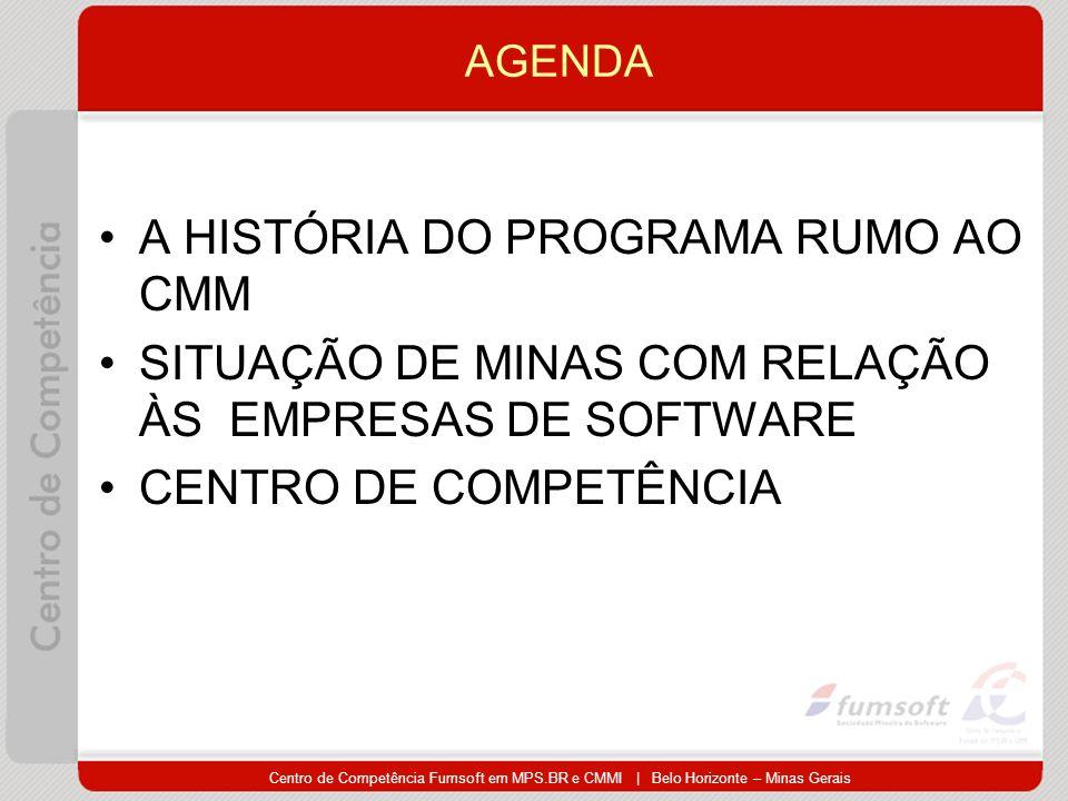 Centro de Competência Fumsoft em MPS.BR e CMMI | Belo Horizonte – Minas Gerais AGENDA A HISTÓRIA DO PROGRAMA RUMO AO CMM SITUAÇÃO DE MINAS COM RELAÇÃO ÀS EMPRESAS DE SOFTWARE CENTRO DE COMPETÊNCIA