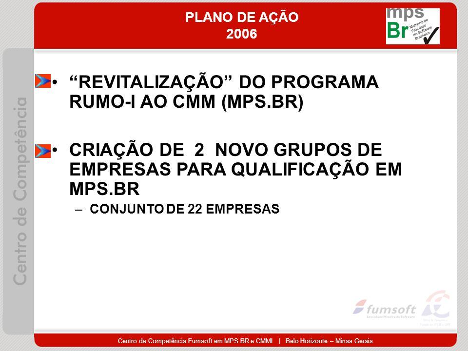 Centro de Competência Fumsoft em MPS.BR e CMMI | Belo Horizonte – Minas Gerais PLANO DE AÇÃO 2006 REVITALIZAÇÃO DO PROGRAMA RUMO-I AO CMM (MPS.BR) CRIAÇÃO DE 2 NOVO GRUPOS DE EMPRESAS PARA QUALIFICAÇÃO EM MPS.BR –CONJUNTO DE 22 EMPRESAS