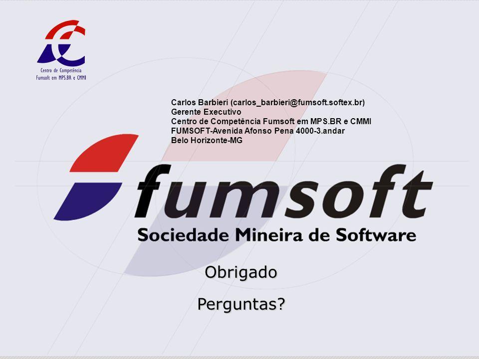 Centro de Competência Fumsoft em MPS.BR e CMMI | Belo Horizonte – Minas Gerais Carlos Barbieri (carlos_barbieri@fumsoft.softex.br) Gerente Executivo C