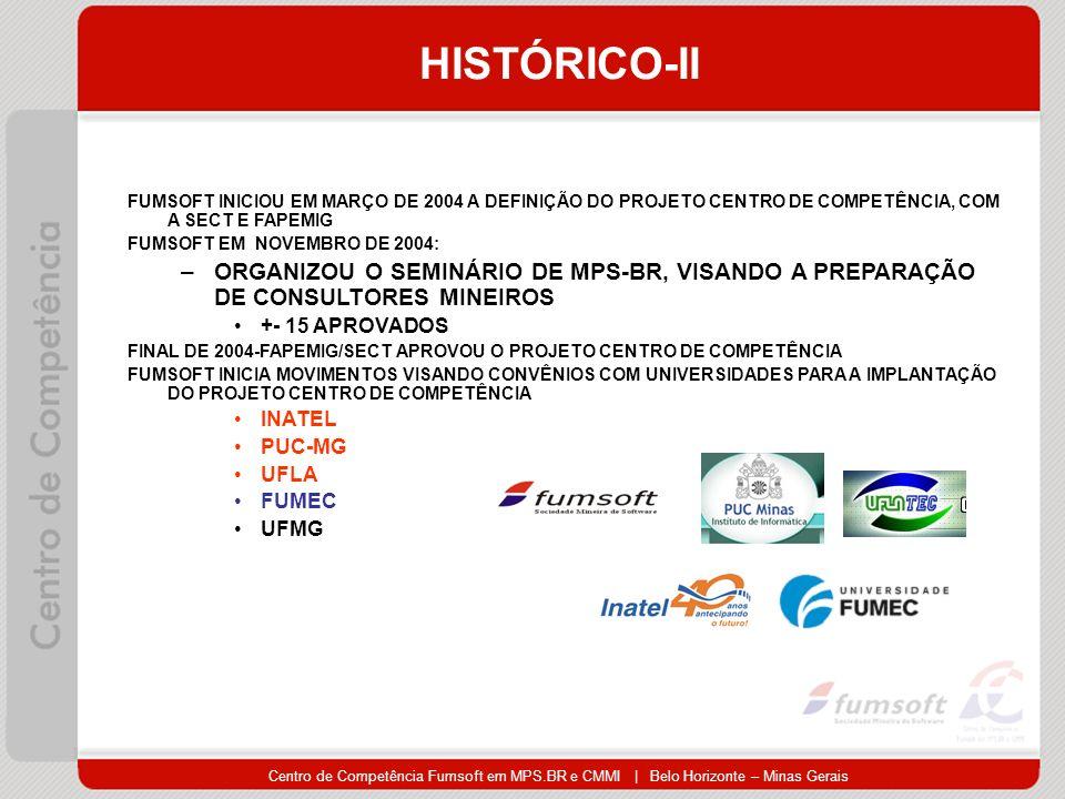 Centro de Competência Fumsoft em MPS.BR e CMMI | Belo Horizonte – Minas Gerais HISTÓRICO-II FUMSOFT INICIOU EM MARÇO DE 2004 A DEFINIÇÃO DO PROJETO CENTRO DE COMPETÊNCIA, COM A SECT E FAPEMIG FUMSOFT EM NOVEMBRO DE 2004: –ORGANIZOU O SEMINÁRIO DE MPS-BR, VISANDO A PREPARAÇÃO DE CONSULTORES MINEIROS +- 15 APROVADOS FINAL DE 2004-FAPEMIG/SECT APROVOU O PROJETO CENTRO DE COMPETÊNCIA FUMSOFT INICIA MOVIMENTOS VISANDO CONVÊNIOS COM UNIVERSIDADES PARA A IMPLANTAÇÃO DO PROJETO CENTRO DE COMPETÊNCIA INATEL PUC-MG UFLA FUMEC UFMG