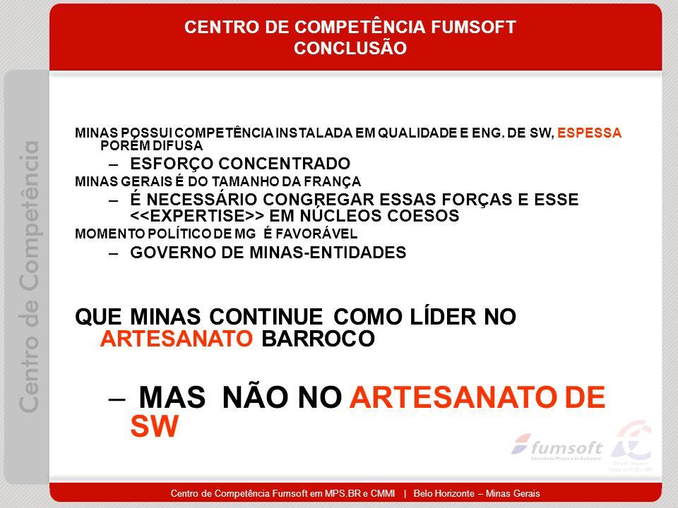 Centro de Competência Fumsoft em MPS.BR e CMMI | Belo Horizonte – Minas Gerais CENTRO DE COMPETÊNCIA FUMSOFT CONCLUSÃO MINAS POSSUI COMPETÊNCIA INSTALADA EM QUALIDADE E ENG.