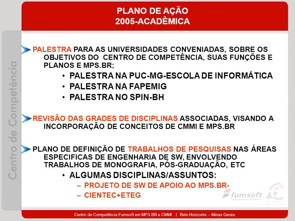 Centro de Competência Fumsoft em MPS.BR e CMMI | Belo Horizonte – Minas Gerais PLANO DE AÇÃO 2005-ACADÊMICA PALESTRA PARA AS UNIVERSIDADES CONVENIADAS, SOBRE OS OBJETIVOS DO CENTRO DE COMPETÊNCIA, SUAS FUNÇÕES E PLANOS E MPS.BR; PALESTRA NA PUC-MG-ESCOLA DE INFORMÁTICA PALESTRA NA FAPEMIG PALESTRA NO SPIN-BH REVISÃO DAS GRADES DE DISCIPLINAS ASSOCIADAS, VISANDO A INCORPORAÇÃO DE CONCEITOS DE CMMI E MPS.BR PLANO DE DEFINIÇÃO DE TRABALHOS DE PESQUISAS NAS ÁREAS ESPECIFICAS DE ENGENHARIA DE SW, ENVOLVENDO TRABALHOS DE MONOGRAFIA, PÓS-GRADUAÇÃO, ETC ALGUMAS DISCIPLINAS/ASSUNTOS: –PROJETO DE SW DE APOIO AO MPS.BR- –CIENTEC+ETEG