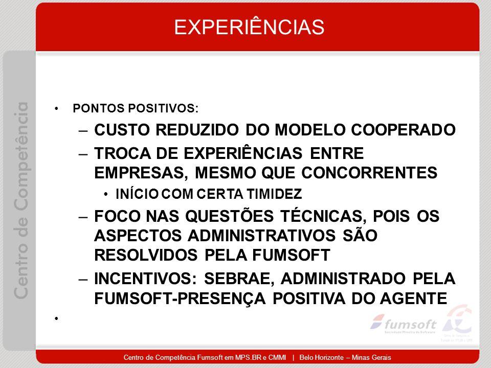 Centro de Competência Fumsoft em MPS.BR e CMMI | Belo Horizonte – Minas Gerais EXPERIÊNCIAS PONTOS POSITIVOS: –CUSTO REDUZIDO DO MODELO COOPERADO –TROCA DE EXPERIÊNCIAS ENTRE EMPRESAS, MESMO QUE CONCORRENTES INÍCIO COM CERTA TIMIDEZ –FOCO NAS QUESTÕES TÉCNICAS, POIS OS ASPECTOS ADMINISTRATIVOS SÃO RESOLVIDOS PELA FUMSOFT –INCENTIVOS: SEBRAE, ADMINISTRADO PELA FUMSOFT-PRESENÇA POSITIVA DO AGENTE