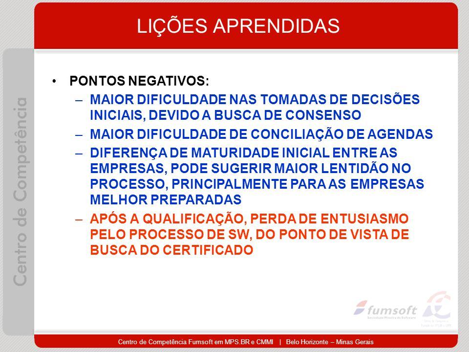 Centro de Competência Fumsoft em MPS.BR e CMMI | Belo Horizonte – Minas Gerais LIÇÕES APRENDIDAS PONTOS NEGATIVOS: –MAIOR DIFICULDADE NAS TOMADAS DE DECISÕES INICIAIS, DEVIDO A BUSCA DE CONSENSO –MAIOR DIFICULDADE DE CONCILIAÇÃO DE AGENDAS –DIFERENÇA DE MATURIDADE INICIAL ENTRE AS EMPRESAS, PODE SUGERIR MAIOR LENTIDÃO NO PROCESSO, PRINCIPALMENTE PARA AS EMPRESAS MELHOR PREPARADAS –APÓS A QUALIFICAÇÃO, PERDA DE ENTUSIASMO PELO PROCESSO DE SW, DO PONTO DE VISTA DE BUSCA DO CERTIFICADO