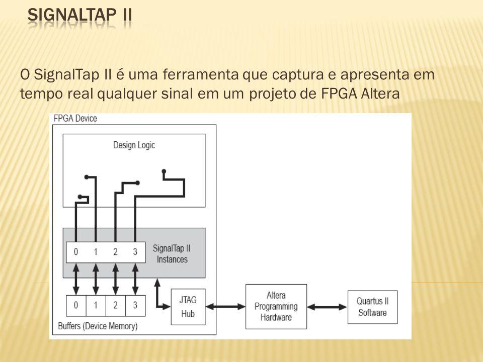O SignalTap II é uma ferramenta que captura e apresenta em tempo real qualquer sinal em um projeto de FPGA Altera