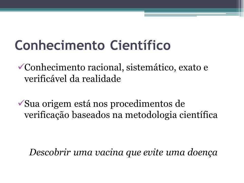 Conhecimento Científico Conhecimento racional, sistemático, exato e verificável da realidade Sua origem está nos procedimentos de verificação baseados na metodologia científica Descobrir uma vacina que evite uma doença