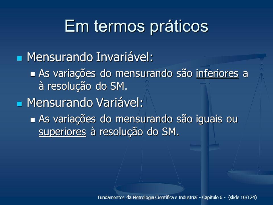 Fundamentos da Metrologia Científica e Industrial - Capítulo 6 - (slide 10/124) Em termos práticos Mensurando Invariável: Mensurando Invariável: As va