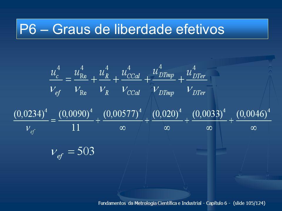Fundamentos da Metrologia Científica e Industrial - Capítulo 6 - (slide 105/124) P6 – Graus de liberdade efetivos