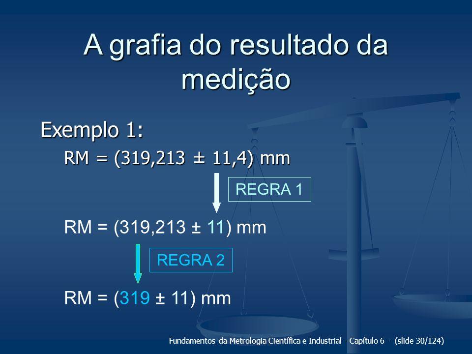 Fundamentos da Metrologia Científica e Industrial - Capítulo 6 - (slide 30/124) A grafia do resultado da medição Exemplo 1: RM = (319,213 ± 11,4) mm R