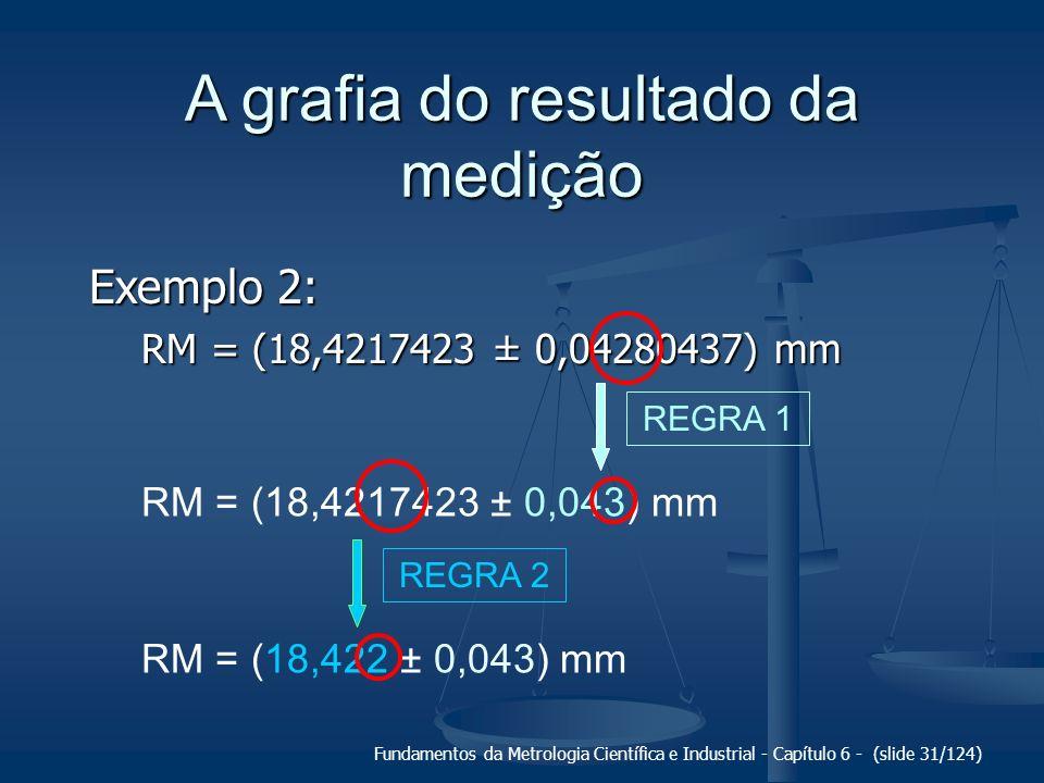 Fundamentos da Metrologia Científica e Industrial - Capítulo 6 - (slide 31/124) A grafia do resultado da medição Exemplo 2: RM = (18,4217423 ± 0,04280