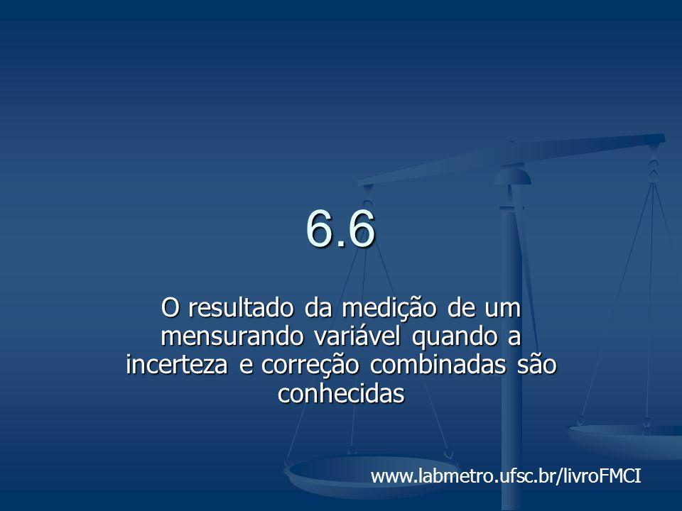 www.labmetro.ufsc.br/livroFMCI 6.6 O resultado da medição de um mensurando variável quando a incerteza e correção combinadas são conhecidas
