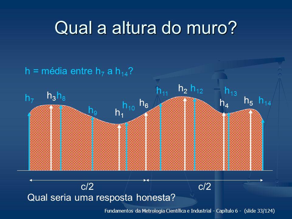 Fundamentos da Metrologia Científica e Industrial - Capítulo 6 - (slide 33/124) Qual a altura do muro? h1h1 h2h2 h3h3 h4h4 h5h5 c/2 h6h6 h7h7 h8h8 h9h