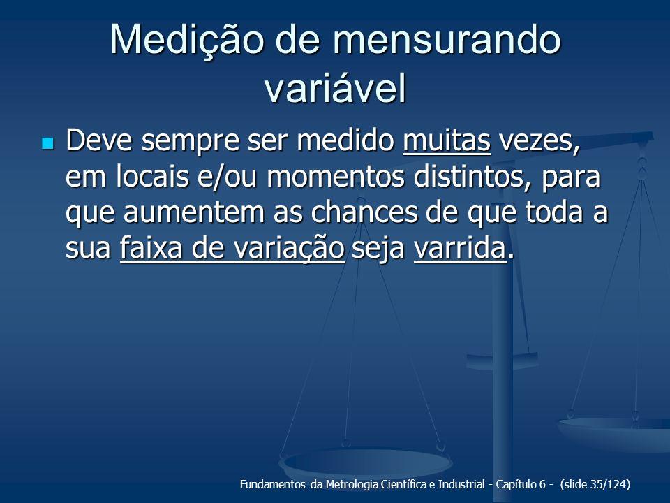 Fundamentos da Metrologia Científica e Industrial - Capítulo 6 - (slide 35/124) Medição de mensurando variável Deve sempre ser medido muitas vezes, em