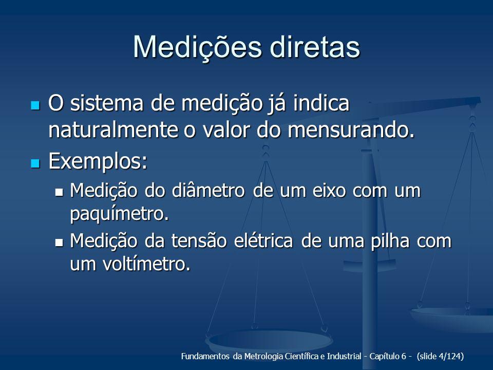 Fundamentos da Metrologia Científica e Industrial - Capítulo 6 - (slide 4/124) Medições diretas O sistema de medição já indica naturalmente o valor do