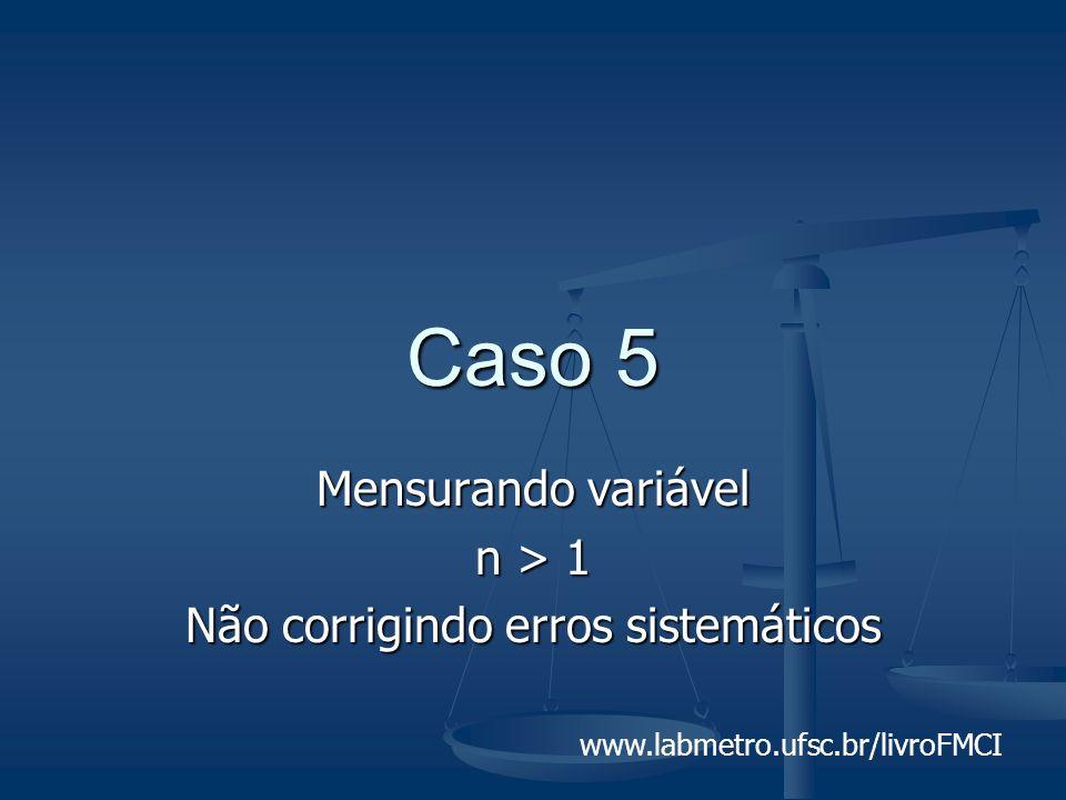 www.labmetro.ufsc.br/livroFMCI Caso 5 Mensurando variável n > 1 Não corrigindo erros sistemáticos
