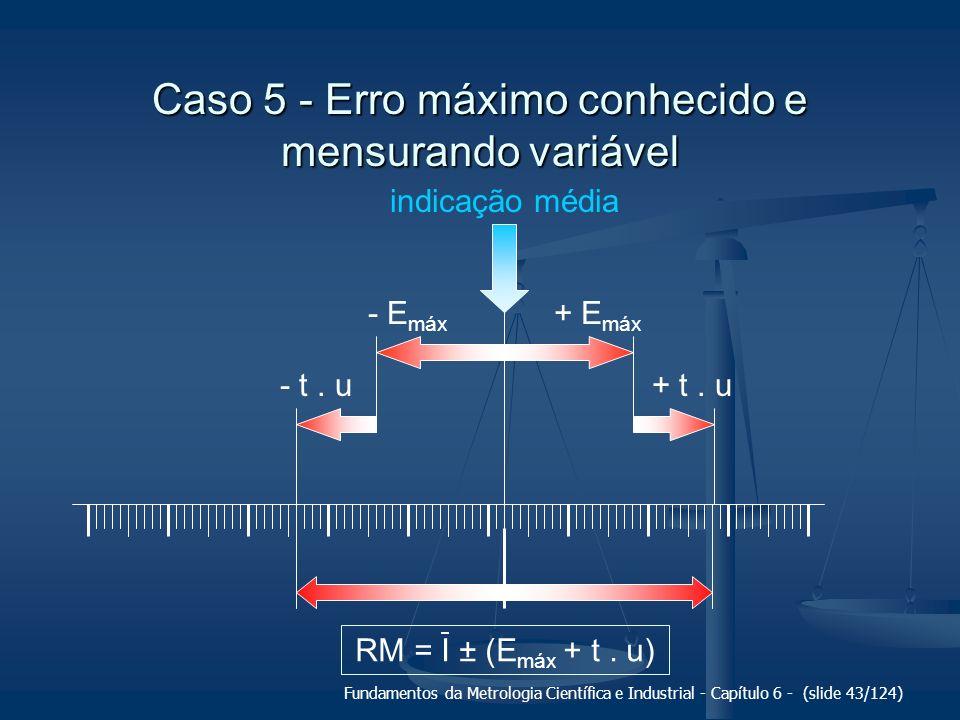 Fundamentos da Metrologia Científica e Industrial - Capítulo 6 - (slide 43/124) indicação média + E máx - E máx Caso 5 - Erro máximo conhecido e mensu